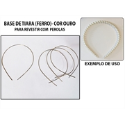 BASE DE TIARA DE ARAME DOURADA 1MM - 10PC
